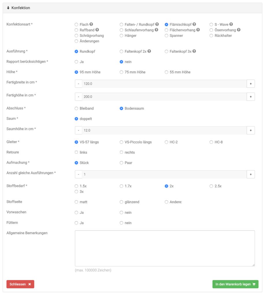 Vorhang-Konfigurator, B2B, Auftragsverarbeitung, Wechselwirkungen