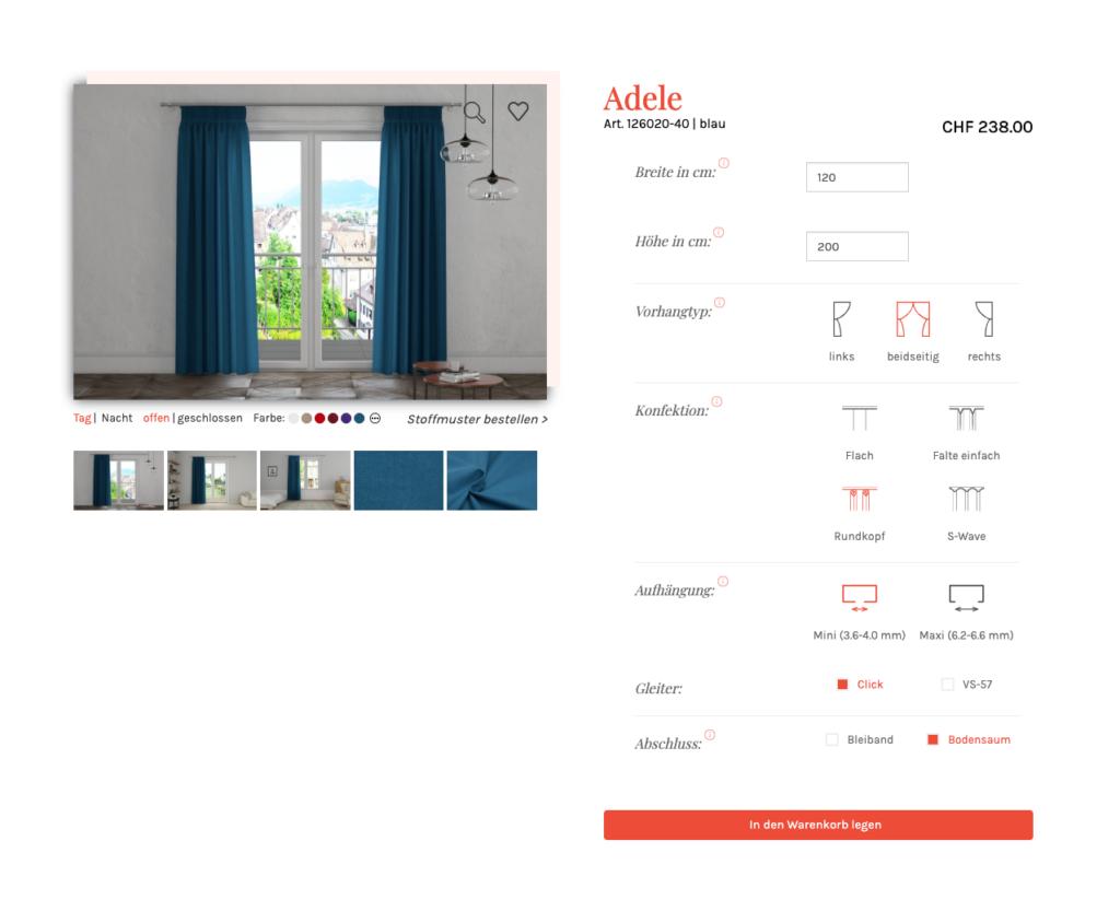 Vorhang-Konfigurator B2C, Visualisierung, Iframe